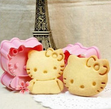 High Quality 2PCS Hello Kitty shape mold sugar Arts set Fondant Cake tools  Plastic cookie cutters kitchen accessories