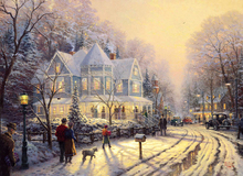 free shipping classical Thomas house people night snow scenery canvas prints oil painting printed on canvas decoration picture