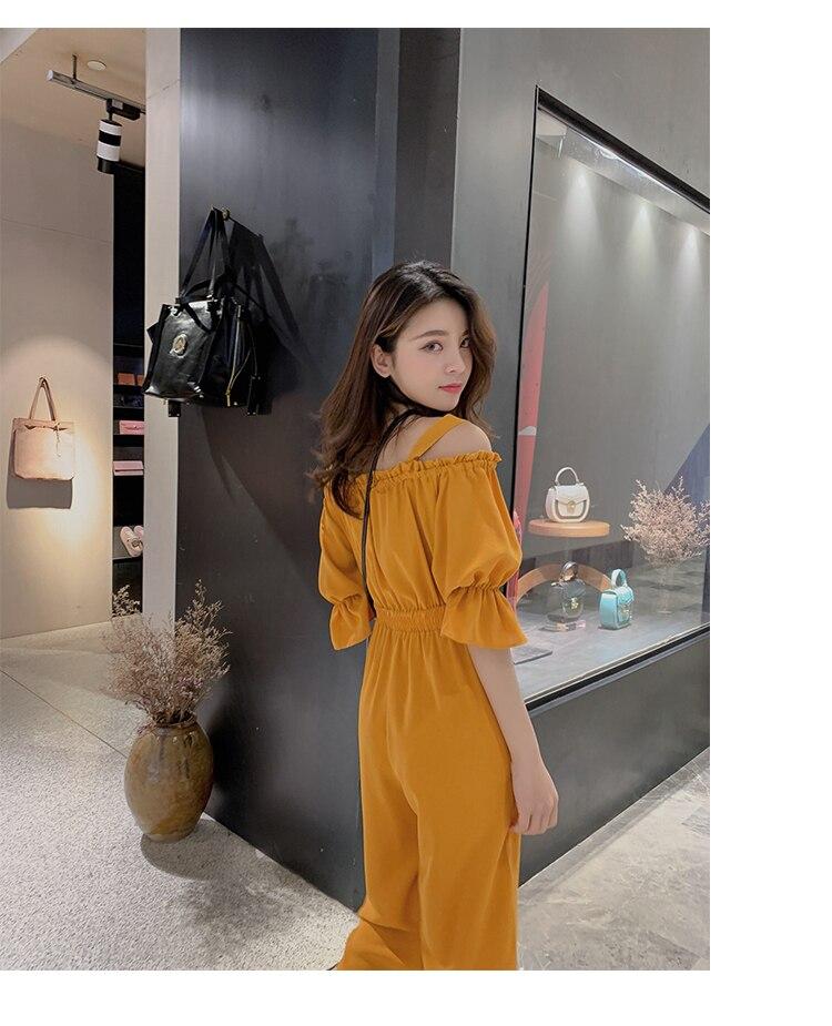 Women's Clothing 2019 Summer New Sexy Bohemian Style Spaghetti Strap Helf Sleeve High Waist Sling Long Beach Wide Leg Jumpsuit 14 Online shopping Bangladesh