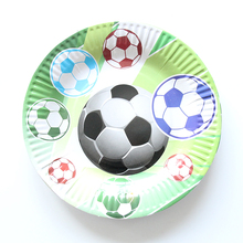 10pcs/lot Football Cartoon Paper Kids Favor Boys Birthday Party Paper Plate 7inch Printing Round Plates Party Supplies