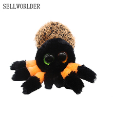 "SELLWORLDER Ty Beanie Boos Big Eyes 6"" Plush Black & yellow purple spider Animal Toys(China)"