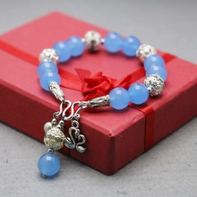Accessory Parts Blue Chalcedony Beads Bracelet Double Pass Buckle Swan Pendant Stones Balls Gifts Ladies Jewelry Making Fitting(China)
