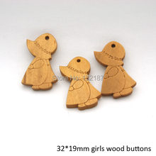 Wholesale 32*19mm fancy little girl wood pendant light brown colors free shipping WOOD-021