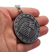 Game of Thrones Jewelry Keychain Song of Ice and Fire Stark Key Ring Alloy Pendant Key ring Souvenir Men Jewelry(China)