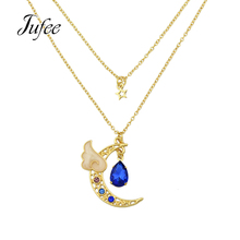 Luxurious Gold-Color with Rhinestone and Blue Hotpink Crystal Angel Wing Moon Necklaces & Pendants Multi Layer Chain Necklace