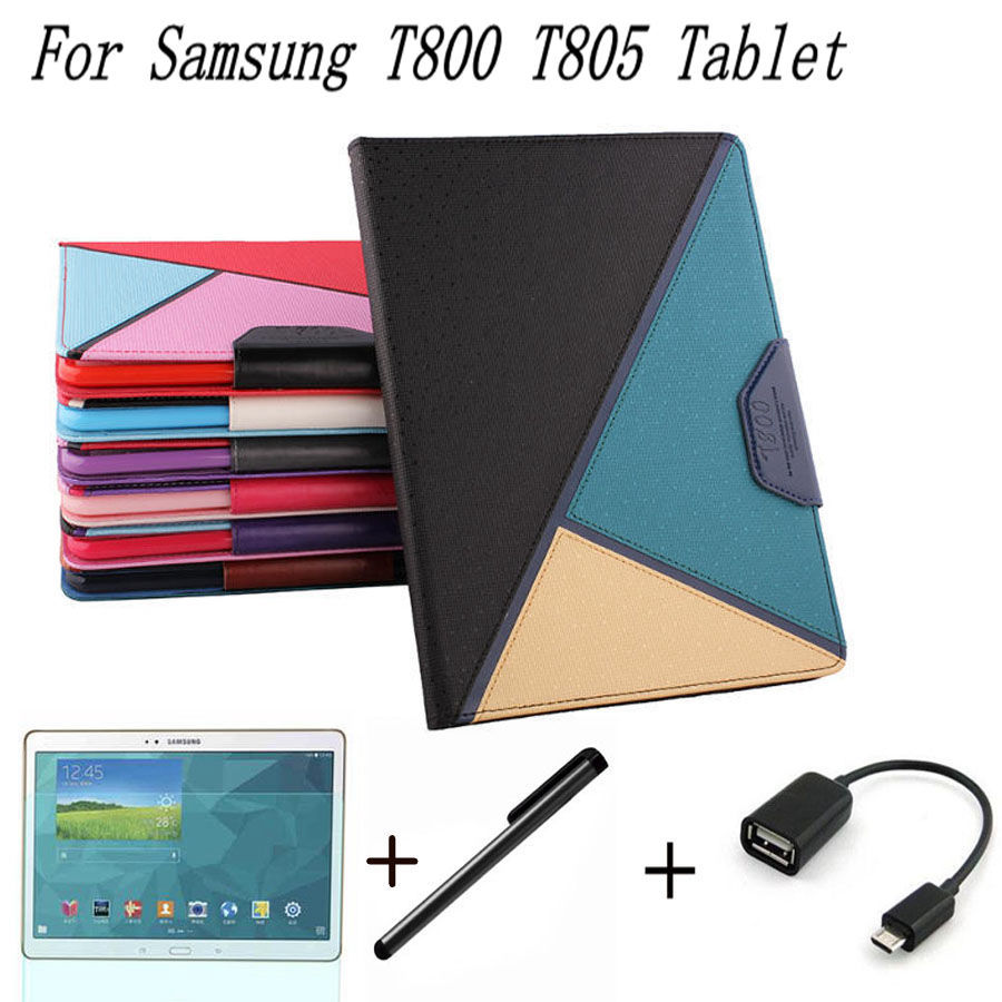 4 in 1 Luxury Stand Flip PU Leather Book Cover Case For Samsung Galaxy Tab S 10.5 T800 T805 Tablet +OTG+ Screen Film+Stylus Pen<br><br>Aliexpress