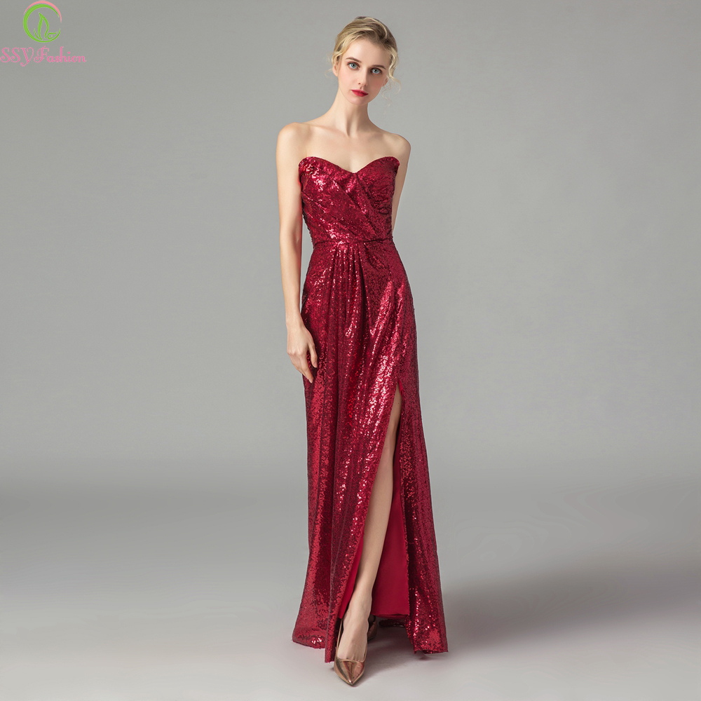 SSYFashion New Sexy Evening Dress V-neck Off-the-shoulder Simple Burgundy Sequins Floor-length Party Formal Gown Robe De Soiree