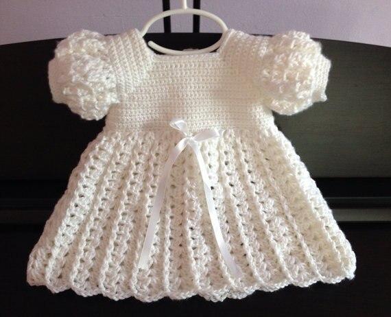 Crochet Baby Dress, Baptism Blessing Christening<br>