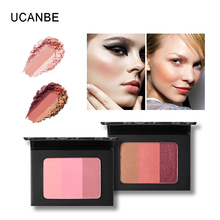 UCANBE Brand New Face Makeup 3 Color Blush Palette Shadow Blush Powder Set Silky Texture Blusher Smooth Natural Rouge Cosmetics(China)