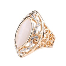 2015 Latest Retro Fashion Lace Hollow Horse Eye AAA Opal Rings For Women Ancient Roman Empress Silver Ring(China)