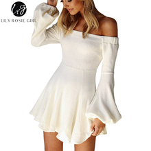 Lily Rosie Girl Sexy Off Shoulder Lantern Long Sleeve Women White Sweater Dresses 2017 Autumn Winter Black Knitted Dress Vestido
