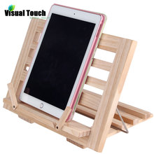 Visual Touch Luxury Wooden Foldable Music Recipe Book Stand Cookbook Holder iPad Mobile Rack Document Holders(China)