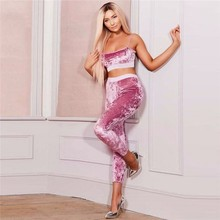 Buy Velvet Women Yoga Set Fitness Workout Tracksuit Sexy Ladies Sportswear Running Vest Leggings Sport Suit Gym Clothing Two Piece for $18.47 in AliExpress store