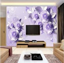 Large Mural Wallcoverings Rose Pink Purple Flower Custom Size 3D Photo Wallpaper TV Backdrop Stereoscopic Murals Wall Paper Roll(China)