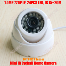 1MP 1280x720 ONVIF HD IP IR 15-20m Indoor Eyeball Plastic Dome Camera Infrared Night Vision 720P
