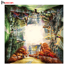 HUACAN Outside Four Seasons Diamond Embroidery Handmade Full Square Diamond Painting Sceniery Picture of Rhinestones Home Decor