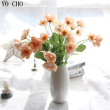 YO CHO Christmas party decor artificial silk poppy flower weeding table decoration rose floas birthday party decorations flores(China)