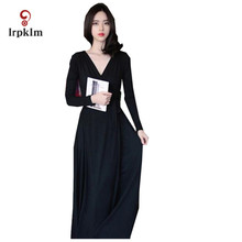 L-XXXL Spring Women Maxi Dresses 2017 New Vintage V Neck Decor Solid Long Sleeve Band Waisted Pleated Hem Vestidos YY578(China)