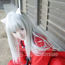 Mercury lamp soft Inuyasha gray white hair wig cos 80cm face Cosplay accessories