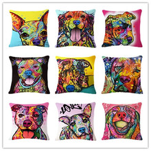 Cartoon Style Decor Cotton Linen Cushion Multicolor Dog Pattern Print Sofa Throw Pillow Home Decor Square Cojines(China)