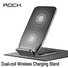 Original ROCK 10W Dual-coil Wireless phone Charging Stand for iPhone X 8 plus Fast Charging Dock for Samsung Note 8 newest(China)