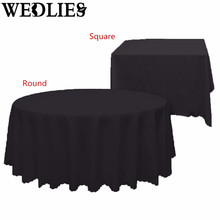 Polyester Square/Round Tablecloth Waterproof Table Cover Cloth Banquet Wedding Party Events Table Decoration White Black
