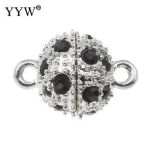 YYW Silver-color Magnetic Clasp Fashion Jewelry Single-strand Black Rhinestone Charm Round Ball Clasp Jewelry Accessories
