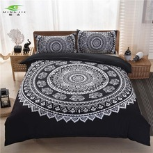 MINGJIE brand bohemian bedding sets boho style Queen Size 3pcs black white purple printing Duvet Cover set quilt cover Bed Linen