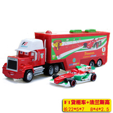 2pcs/Set Pixar Cars Francesco MACK Superliner Truck Combination With Car Metal Diecast Toy Car 1:43 Loose Kid's Model car Toy