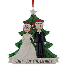 Wholesale Couple Our First Christmas Resin Glitter Tree Ornaments Personalized Gift With Pine Tree For Holiday Party Home Decor(China)