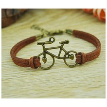 Women Vintage Leather Rope Bicycle Charm Bracelets Personalized Handmade Rope Chain Bike Wrap Bracelet Cuff Bangle Cheap(China)