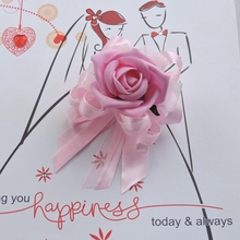 New Handmade PU 10pcs  Artificial Rose Boutonnieres Bride Corsage Wrist Flower Wedding Church Decor Bracelet  Pink FL128