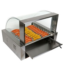 (Ship from US) Commercial 2200w 30 Hot Dog Maker 11 Roller Stainless Electric Sausage Grill Cooker Machine with Cover(China)