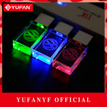 YUFANYF 2017 pendrive 3 colors Red / blue / green LED Volkswagen car LOGO USB falsh drive 4GB 8GB 16GB 32GB U Disk crystal gift