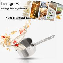10cm Stainless Steel Milk Pot Portable Heating Pot Sauce Pan With Tempered Glass Lid Cooking Pot For Gas&amp Induction(China)