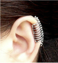 Europe and the United States punk style skull spine earrings ear no ear clip female earrings ear cuffs wholesale(China)