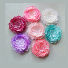 wholesale cloth Peony Flower Without Hair clips kids girls Fashion Headwear 7 colors 100pcs/lot  Freeshipping