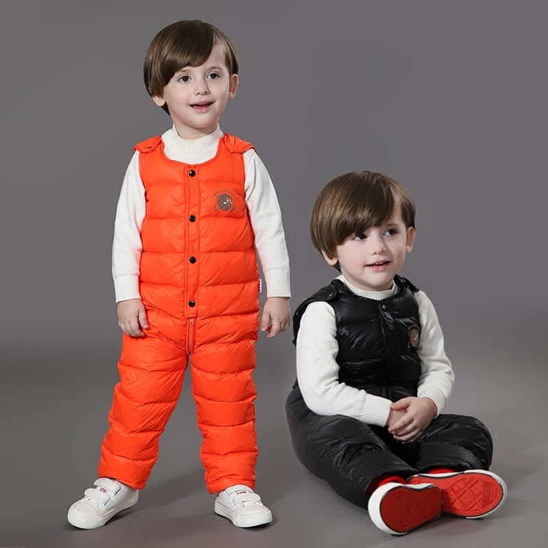 The Children Down Pants Baby Boys Girls  Thickened Down Pants Baby Warm In Winter Wear Thick Duc Down  Winter Boys Trousers Warm<br>