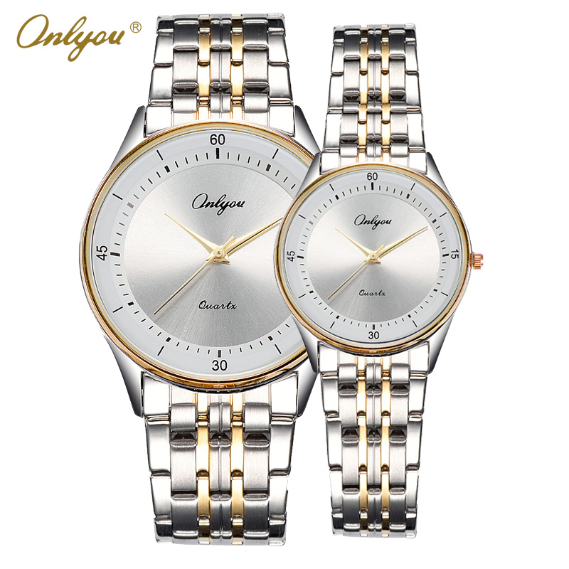 Onlyou Couple Watches Luxury Top Brand Women Watches Men Wristwatches Fashion Silver Gold Black Female Male Clock Gifts 8880<br>
