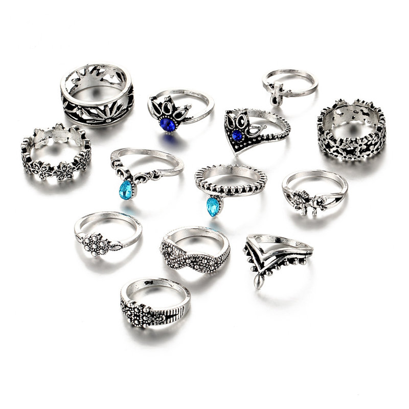 IF-ME-13PCs-set-Bohemian-Flower-Ring-Sets-for-Women-Vintage-Retro-Silver-Color-Lotus-Blue