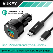 AUKEY Quick Charge 2.0 Universal 2 Ports USB Fast Car Charger Adapter For HTC LG Sony iPhone Samsung Tablet PC,With Type-C Cable