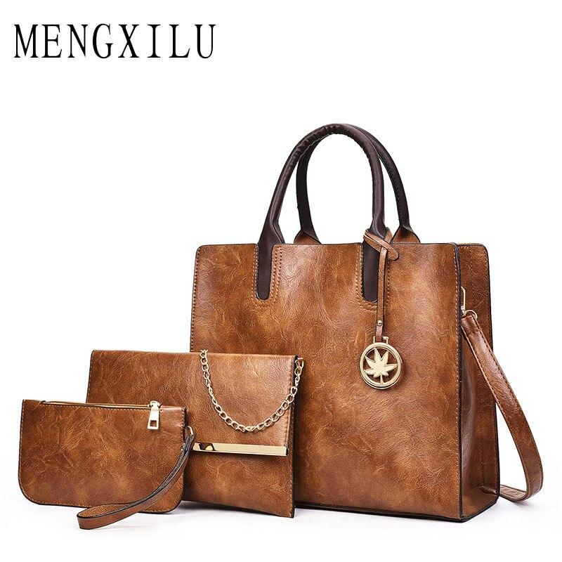 MENGXILU 2018 3 Set Women Bag Ladies Shoulder Bags Handbags Women Famous Brands Womens Leather Handbags Purse With Decoration<br>