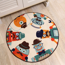 Korean Cartoon Robots Round Rug and Carpet For Home Living Room Bedroom Area Rug For Child Room Floor Mat Non Slip Mat Doormats(China)