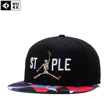 STAPLE Snapback ,Skeleton Take Rose Hat , Embroidery Hip-Hop Baseball Cap , Men & Women'S Fashion Adjustable Caps Fit 54-59cm(China)
