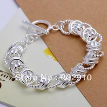 Factory price!!!Free Shipping 925 Sterling Silver Bracelet Can Custom Hand Made Bracelet Wholesale Fashion Jewelry H072(China)
