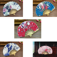 Fabric Floral Pocket Fan Folding Hand Held FanWedding Party favor Decor Fan Chinese Japanese Flower Blossoms Carved Hand Fan(China)