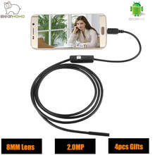 Video Endoscope Android Camera HD 720P 8mm Lens 2.0MP Snake Tube Inspection Camera Car Endoscope USB Flexible Camera Waterproof(China)