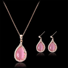 1Sets/lot Classic Soft Pink Opal Earrings Necklace Set Ladys Crystal Water Drop Statement Choker Necklace Women Sister Gifts