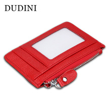 DUDINI RFID Men & Women Genuine Leather Wallets Soft Short Momey Purse Wallet 4 Colors Zip Card Holder Carteira Masculina(China)