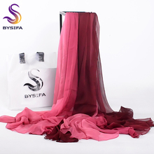 [BYSIFA] Wine Red Patchwork Long Scarves Wraps Summer Ladies Gradient Beach Cover-ups Shawl Plus Size Women Silk Scarf 190*160cm